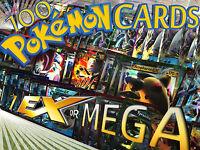 Pokemon TCG 100 Card Lot EX or MEGA EX ULTRA RARE FULL ART HOLO Cards Guaranteed