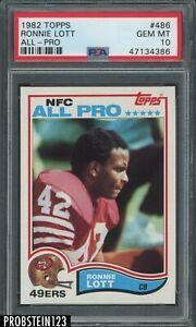 1982 Topps Football #486 Ronnie Lott 49ers All-Pro RC Rookie HOF PSA 10 GEM MINT