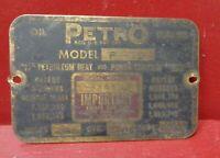 VINTAGE BRASS PETRO OIL BURNER ID INFORMATION BADGE NAME PLATE EMBLEM STEAMPUNK
