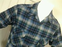 VTG Pendleton  Mens L Wool Shirt  Loop Collar Blue Green Gray Plaid Tartan USA