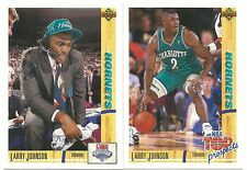 2 CARD LOT 1991-92 LARRY JOHNSON #2 UPPER DECK NBA DRAFT ROOKIE RC TOP PROSPECTS