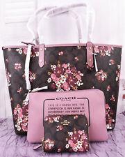 3pcs Coach Sig bag (TOTE F32084 + WALLET F31955) REVERSIBLE City Medley Bouquet