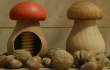 2 Nutcrackers Oak Wood Solid Mushroom Nutcracker Christmas - Set Brown / Red