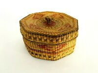 Vintage 1960s Native American Indian Northwest Coast Lidded Basket -  Polychrome