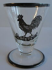 Cambridge Glass Eight 8 Silver Overlay Rooster Cocktail Glasses 2 oz Tumblers
