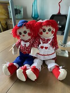 "CHANTILLY LANE 18"" Raggedy Ann And Andy Rag Dolls Duet I've Got You Babe"