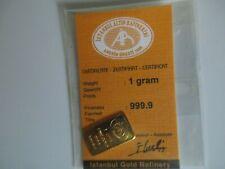 1 Gramm Goldbarren mit Zertifikat in ungeöffneter Originalverpackung