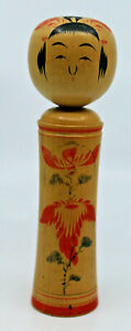 Japanese Traditional Naruko Wooden Kokeshi Doll Signed by Artist 18cm Tall AS-IS