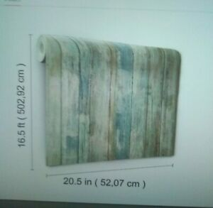 RoomMates RMK9052WP Distressed Wood Blue Peel and Stick Wallpaper