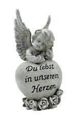 Engel Figur mit Herz Du lebst in unserem Herzen ca. 18,5 cm Grabdeko grau