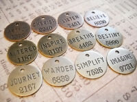 Assorted Charms Pendants Word Charms Quote Charms Inspirational Bronze Silver 12
