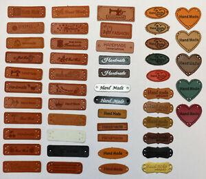 "Label Annäher Etikett Leder leather ""HANDMADE"" große Auswahl Nähen Hobby DIY"