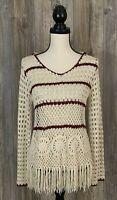 Altar'd State Sweater Small Crochet Fringe Hooded Boho Open Knit Beige/Burgundy