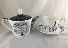 Stechcol Gracie Bone China Christmas Black & White Gingham Teapot, Cup & Saucer