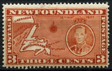 Newfoundland 1937 SG#258c 3c Orange-Brown Coronation MH P13.5 Die I #D44689