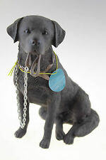 Chocolate Labrador Retriever Dog Sitting 'Walkies' Ornament Gift Figurine Boxed