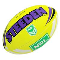 Steeden Neon NRl, Rugby League Football - Size 5 in Yellow/Purple