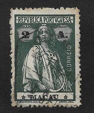MACAU;  1913 Ceres 2A Dark Blueish Green/Black Used (BX)