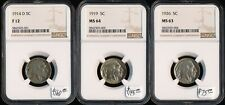 3 BUFFALO 5¢ 1914-D(F12) 1919(MS64) 1926(MS63) > NGC > SEE IMAGES > NO RSRV