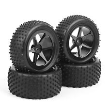 4Pcs Rubber Tires +Wheel Rim RC Front&Rear B04 For 1/10 Off-Road Buggy Car Black