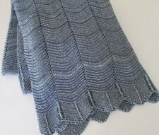 """POINTELLE THROW BLANKET by IN2GREEN~ECO LUXURY Blue Textured USA 50"""" x 60""""  New"""