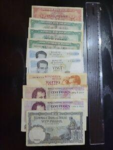 🇧🇪  Belgium assortment of 10 old circulated banknotes 072221-13
