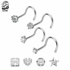 4Pcs Surgical Steel Prong Set Gem Opal L Bend Nose Stud Ring Body Piercing New