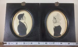 Nice Antique Pair Framed Pencil Drawn Silouettes Portraits Husband + Wife Signed