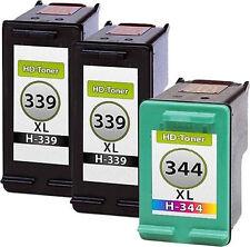 3 Tintas para HP 339+344 XL OfficeJet 7210 7310