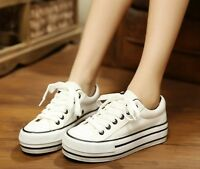 Women Sports Trainers Sneakers Canvas Platform Flats Low Top Lace Up Casual Shoe