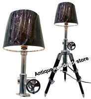 Nautical Designer  Marine Table Lamp Wooden Tripod lamp