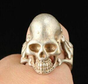 China Retro Handmade Carving Tibetan Silver skull Ring Jewelry