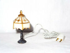 Vintage Wired Table Lamp Doll House Miniature Metal Column Plastic Top Shade Gol