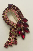 Vintage Weiss Style Red Pink Rhinestone Waterfall Fringe Brooch Pin Estate