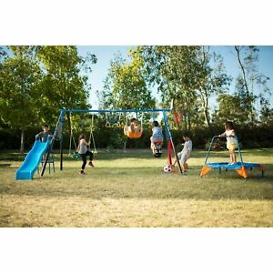 FITNESS REALITY KIDS 'The Ultimate' 8 Station Sports Series Metal Swing Set with