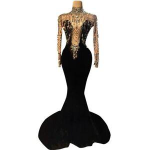Elegant Women Wedding Party Rhinestone Velvet Mermaid Dress Sexy Long Dresses