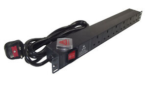 "6 way Surge Protected UK PDU 1U 19"" Rackmount Power Distribution Unit 3m LEAD"