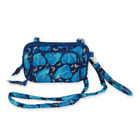 Laurel Burch Indigo Cats Quilted Cotton All in One Small Crossbody Handbag Purse