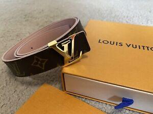 louis-vuitton belt Size 36 Reversible LV Monogram And Rose Pink