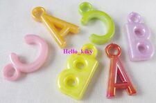 200 pcs Mixed colour Plastic Letter charms M1407