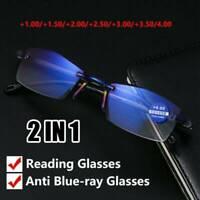 Unisex Multifocal Reading Glasses Blue Light Blocking Presbyopia Eyeglasses-