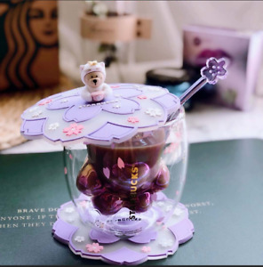 2020 Purple Sakura Cup Starbucks Coffee Glass Mug Stir Rod Stick W/Coaster+Lid