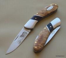 ELK RIDGE TWO TONE BURL WOOD HANDLE LOCK-BACK FOLDING POCKET KNIFE