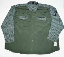 VTG Bugle Boy Jean Company Green Plaid Raglan Style Button Down L/S Shirt Men 3X