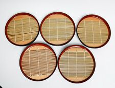 Set of 5 Lacquerware Sushi Plates with Bamboo Inserts