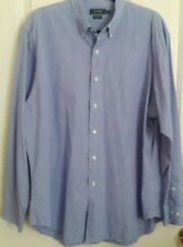 RALPH LAUREN Mens 17 34-35 White Blue Long Sleeve Dress Shirt