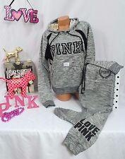 Victoria's Secret PINK sz L set:Cowl Neck Hoodie & Gym pant, Marled Gray FASHION