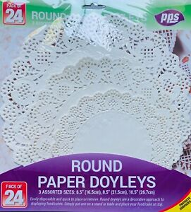 24 x Assorted Paper Party Doilies Doily Lace Doyleys Catering Wedding Round