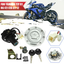 Fuel Gas Cap Ignition Switch Seat Lock Key Kit For Yamaha YZF R1 R6 FZ6 01-12