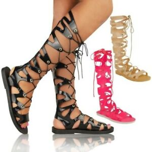 Womens Ladies Knee High Lace Up Jelly Sandals Gladiator Flat Summer Shoes Size